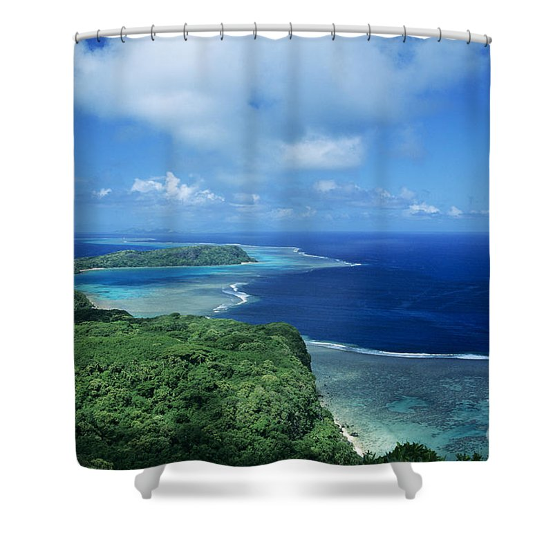 Aerial Shower Curtain featuring the photograph Wakaya Coastline by Larry Dale Gordon - Printscapes