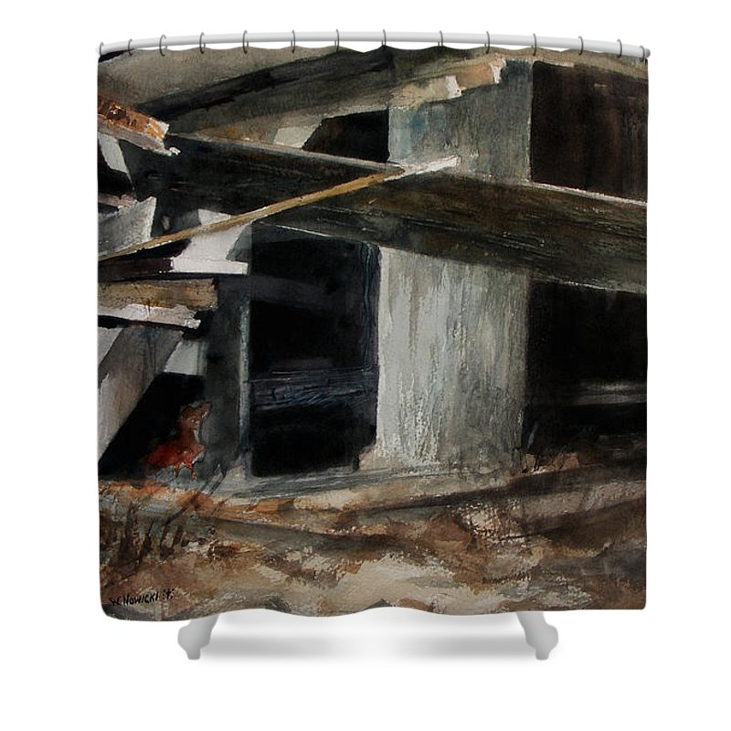 Landscape Shower Curtain featuring the painting Wakeup Call by Rachel Christine Nowicki