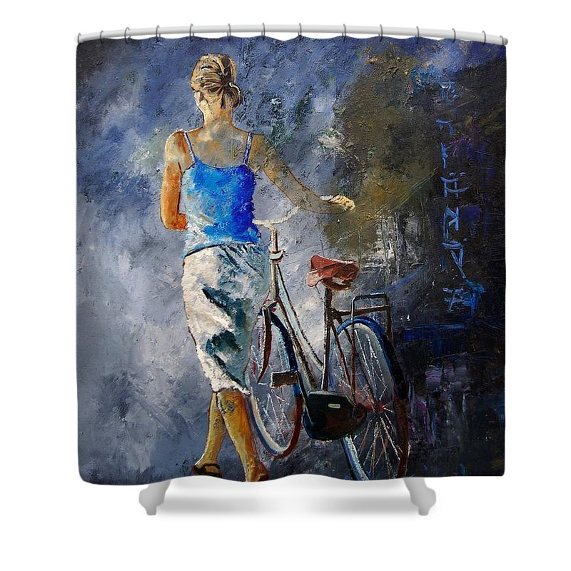 Girl Shower Curtain featuring the painting Waking Aside Her Bike 68 by Pol Ledent