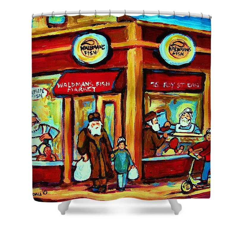 Montreal Shower Curtain featuring the painting Waldmans In Montreal by Carole Spandau