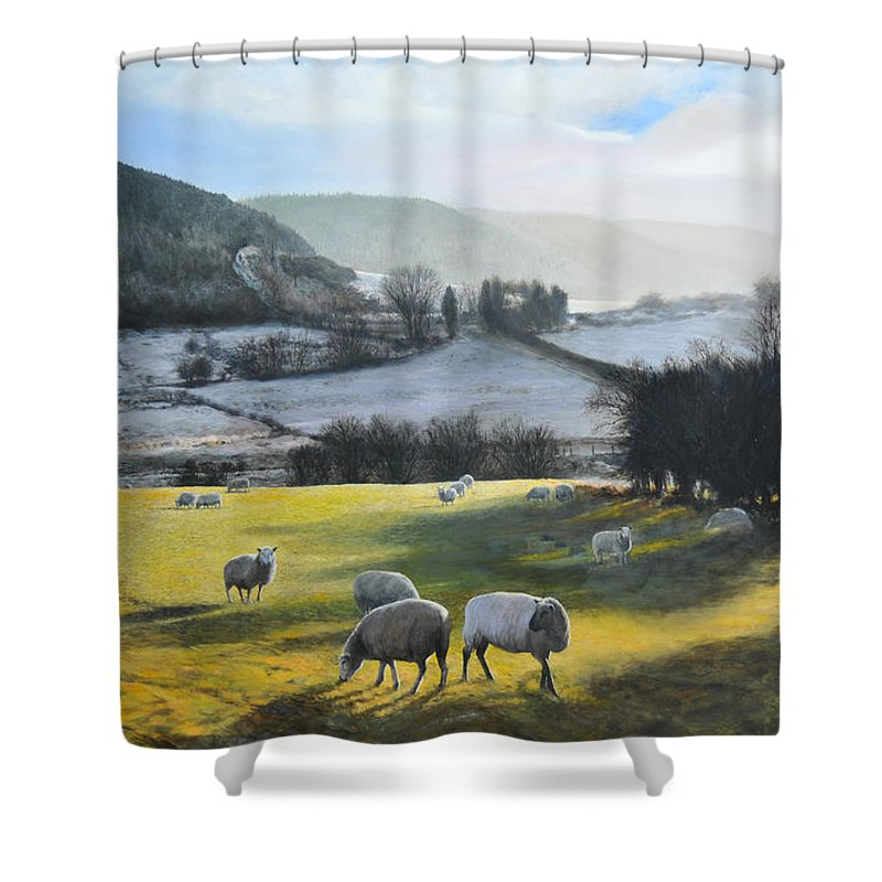 Wales Shower Curtain featuring the painting Wales. by Harry Robertson