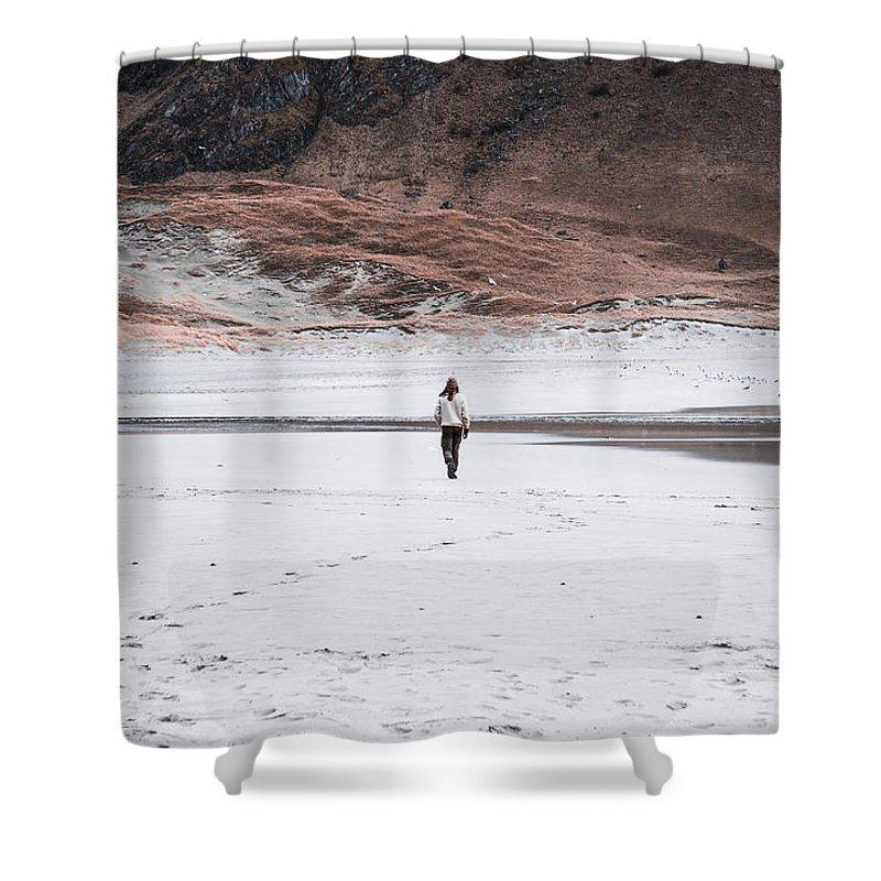 Beach Shower Curtain featuring the photograph Walk At The Beach by Eskil Bjerkestrand