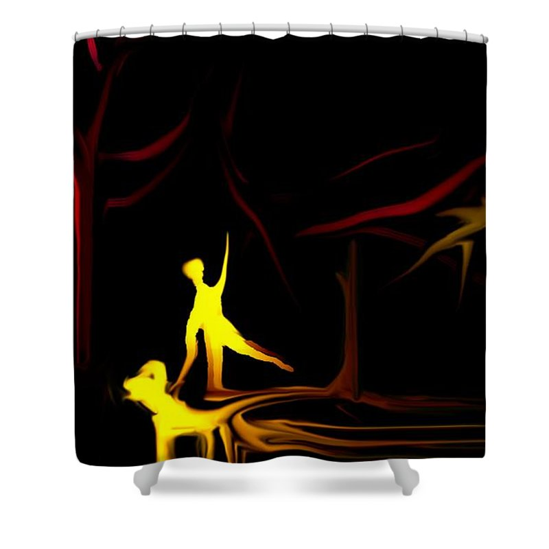 Abstract Digital Painting Shower Curtain featuring the digital art Walk In The Dog Park by David Lane