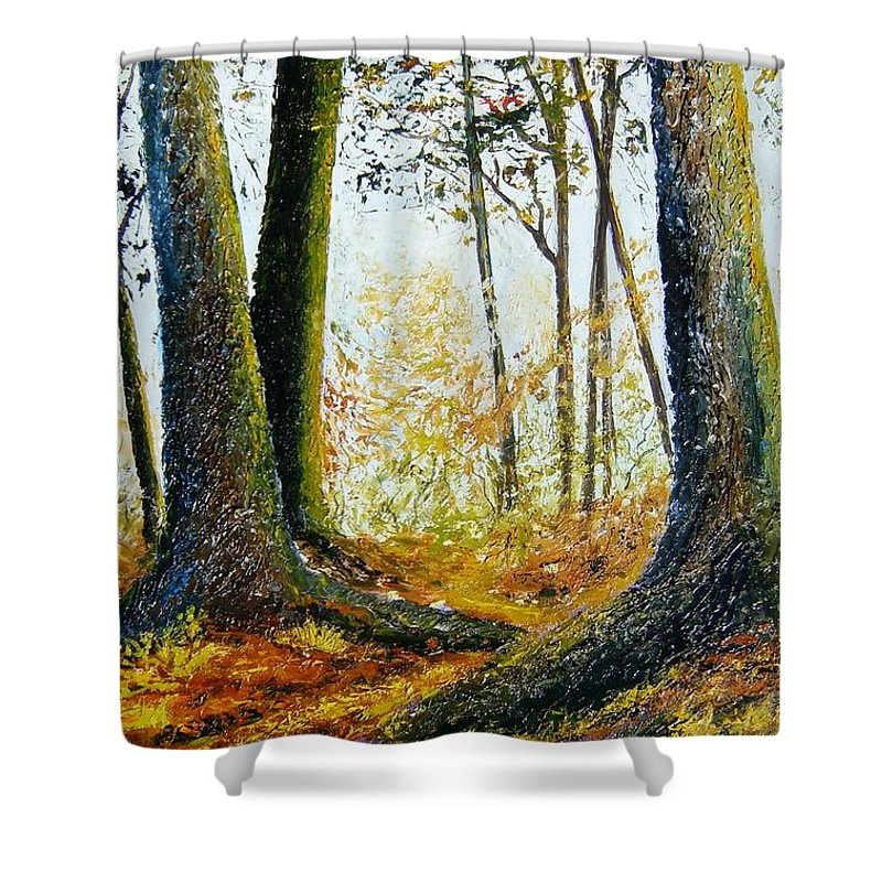Landscape Shower Curtain featuring the painting Walk In The Woods by Tami Booher