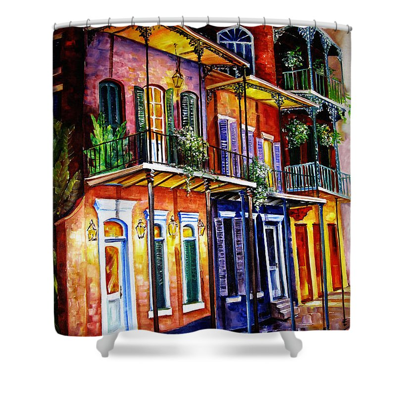 New Orleans Paintings Shower Curtain featuring the painting Walk Into The French Quarter by Diane Millsap