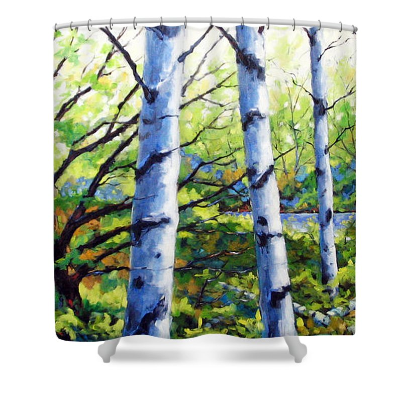 Lake Shower Curtain featuring the painting Walk To The Lake by Richard T Pranke
