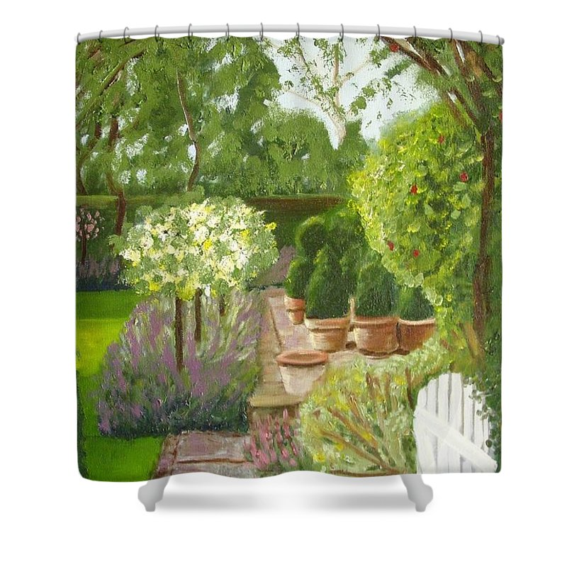 Garden Shower Curtain featuring the painting Walk With Me by Laurie Morgan