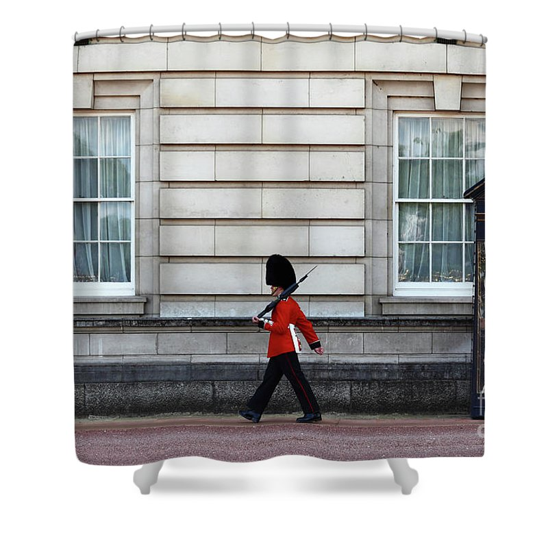 London Guard Shower Curtain featuring the photograph Walkabout In London by James Brunker