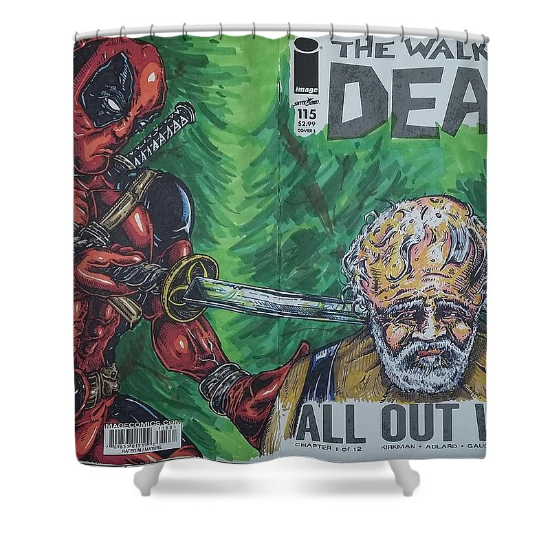 Deadpool Shower Curtain featuring the drawing Walking Dead Deadpool Mash-up by Michael Toth