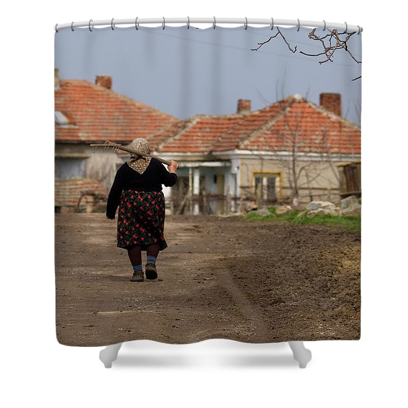 Walking Home After A Days Work In The Fields Shower Curtain featuring the photograph Walking Home by Cliff Norton