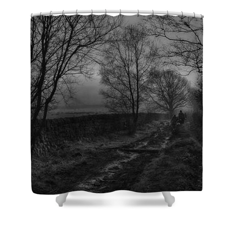 Photography Shower Curtain featuring the photograph Walking In A Muddy Lane by William Eiffert