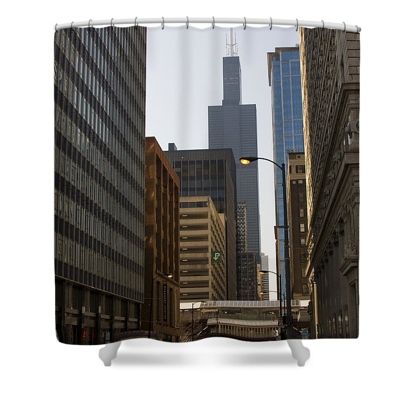 Chicago Windy City Street Trafic Car People Building Skyscraper High Tall Urban Metro Shower Curtain featuring the photograph Walking In Chicago by Andrei Shliakhau