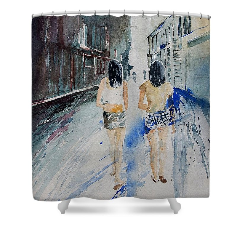Girl Shower Curtain featuring the painting Walking In The Street by Pol Ledent