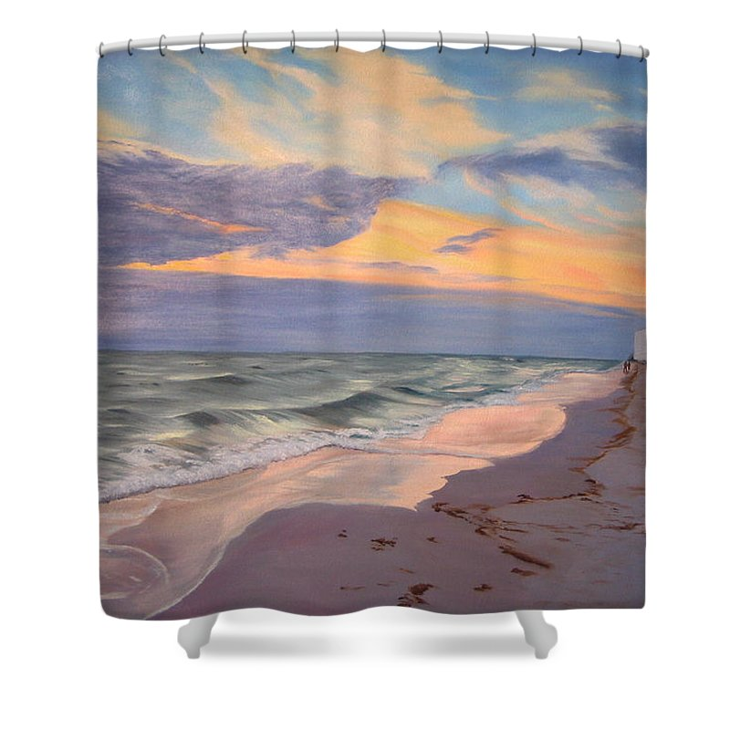 Seascape Shower Curtain featuring the painting Walking On The Beach At Sunset by Lea Novak