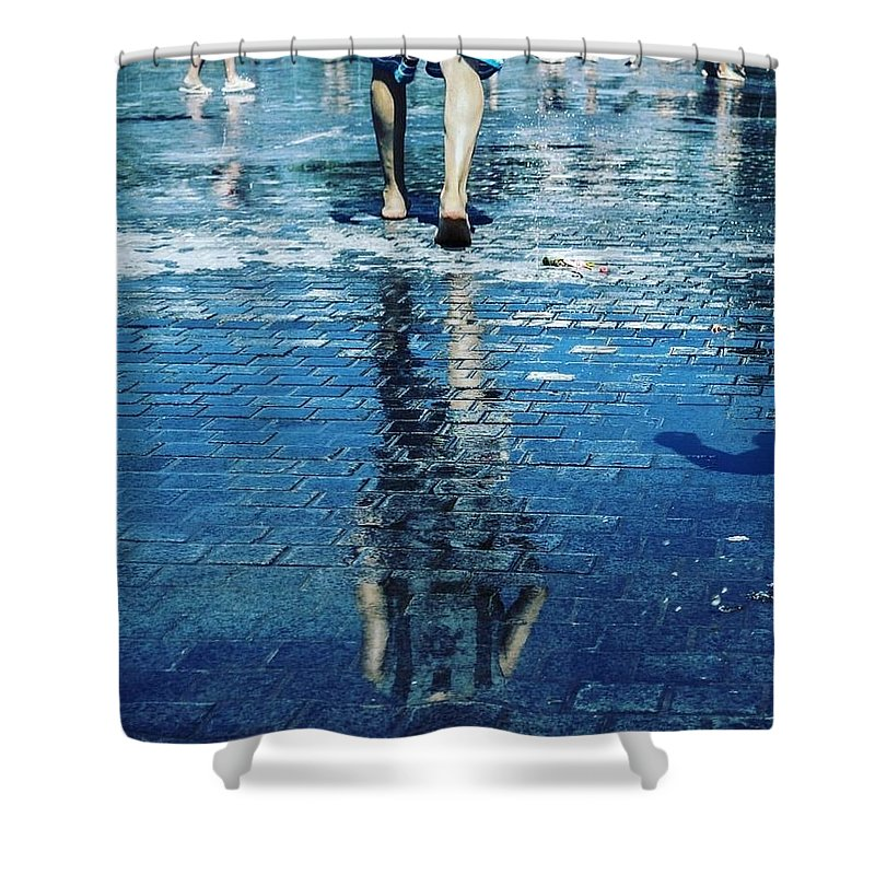 Man Shower Curtain featuring the photograph Walking on the water by Nerea Berdonces Albareda