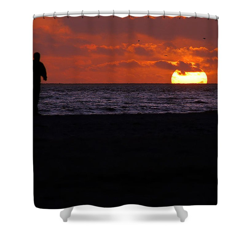 Clay Shower Curtain featuring the photograph Walking The Dog by Clayton Bruster