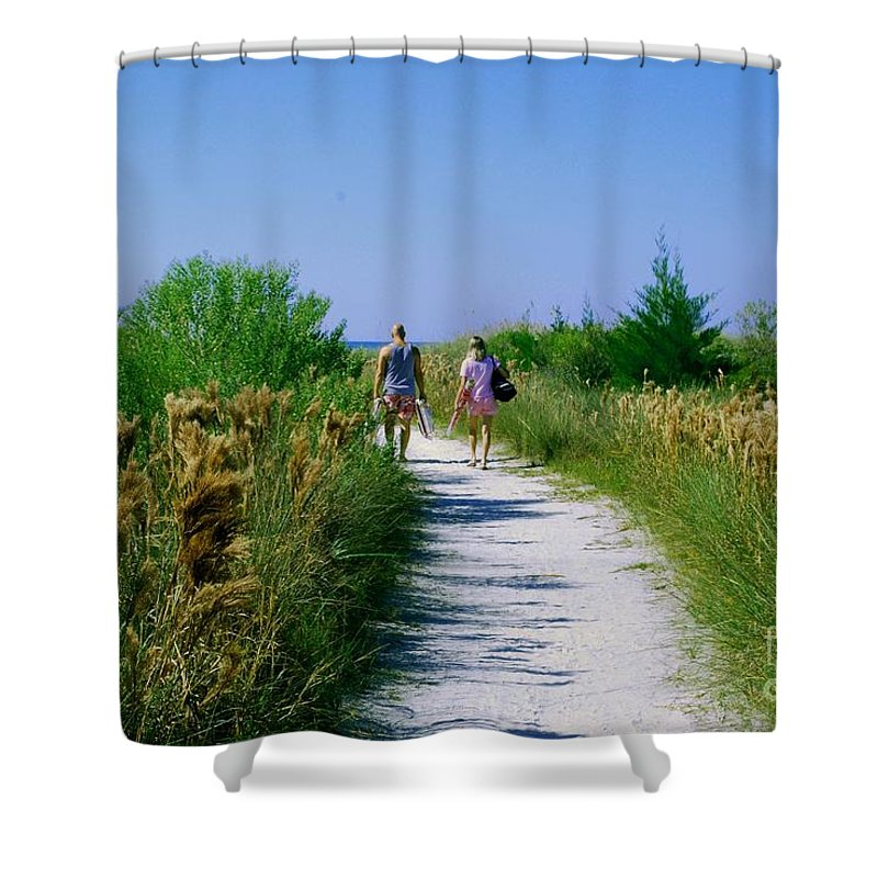 Walking Shower Curtain featuring the photograph Walking To The Beach by Gary Wonning
