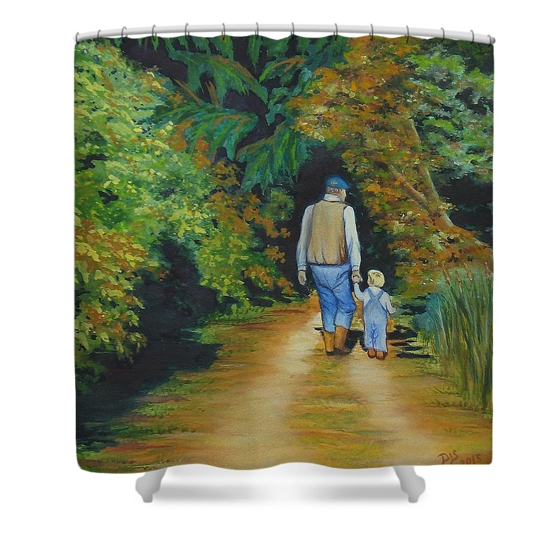 Landscape With People Shower Curtain Featuring The Painting Walking Grandpa By Darla Sittman