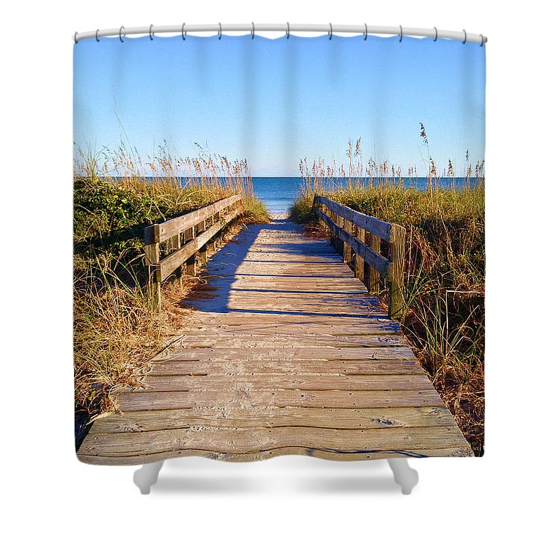 Walkway Shower Curtain featuring the photograph Walkway To The Beach #1 by Joey OConnor