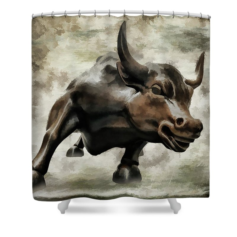 Wall Street Bull Shower Curtain featuring the photograph Wall Street Bull Viii by Athena Mckinzie