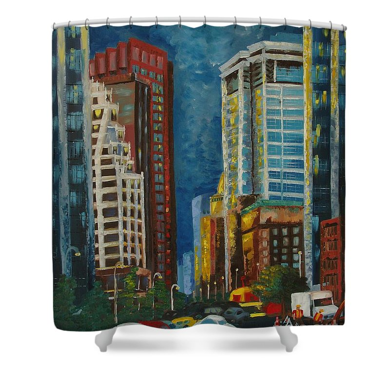 Landscapes Shower Curtain featuring the painting Wall Street by Milagros Palmieri