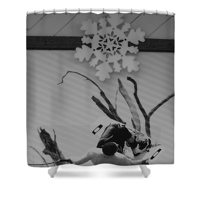 Snow Flake Shower Curtain featuring the photograph Wall Surfing With A Snow Flake by Rob Hans