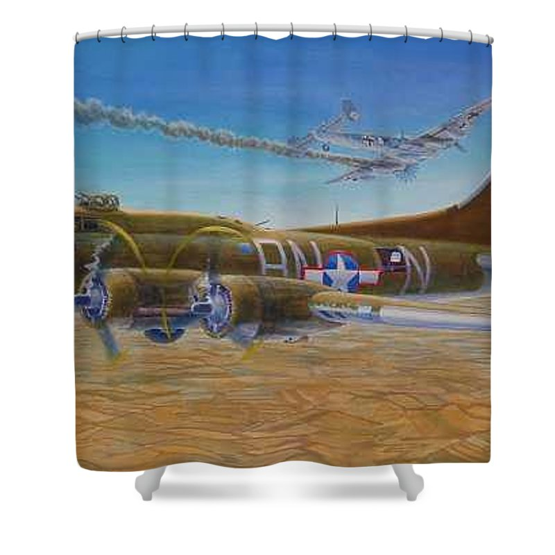 B-17 wallaroo Over Schwienfurt Shower Curtain featuring the painting Wallaroo At Schwienfurt by Scott Robertson