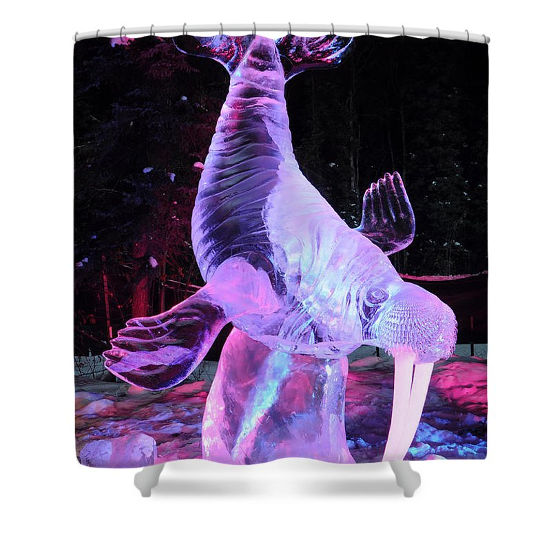 Ice Sculpture Shower Curtain featuring the photograph Walrus Ice Art Sculpture - Alaska by Gary Whitton