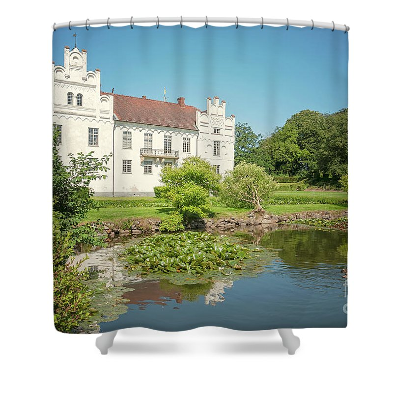 Wanas Shower Curtain featuring the photograph Wanas Castle Duck Pond by Antony McAulay