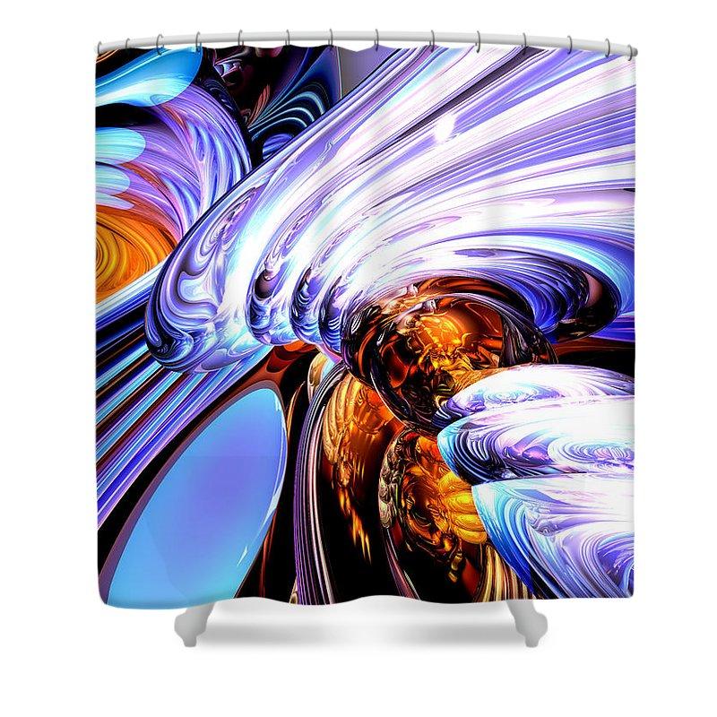 3d Shower Curtain featuring the digital art Wandering Helix Abstract by Alexander Butler