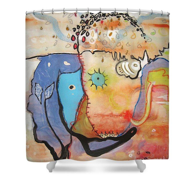 Abstract Paintings Shower Curtain featuring the painting Wandering In Thought by Seon-Jeong Kim