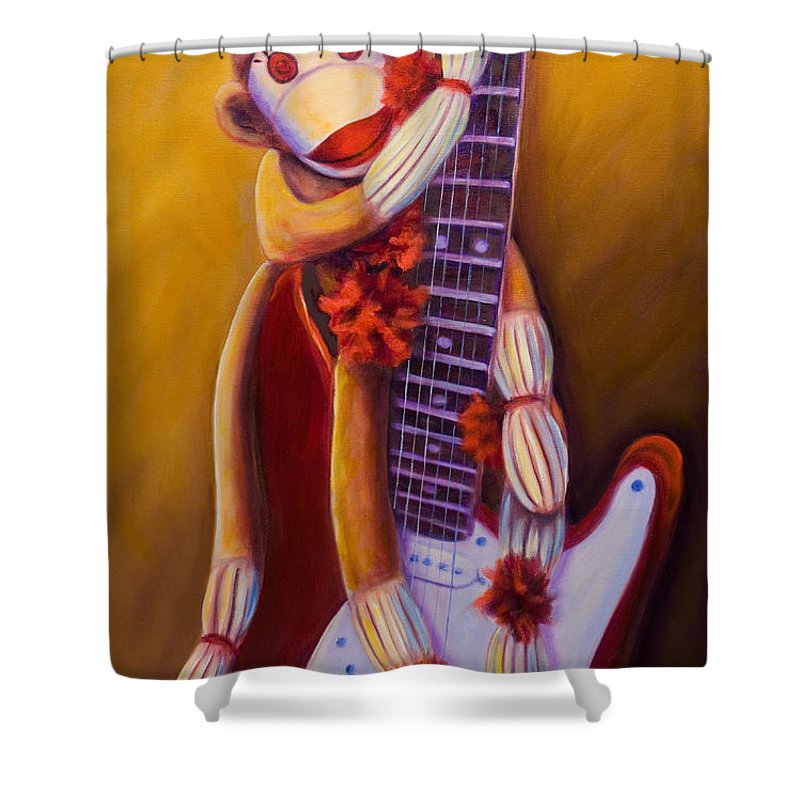 Monkey Shower Curtain featuring the painting Wanna Be A Rocker by Shannon Grissom