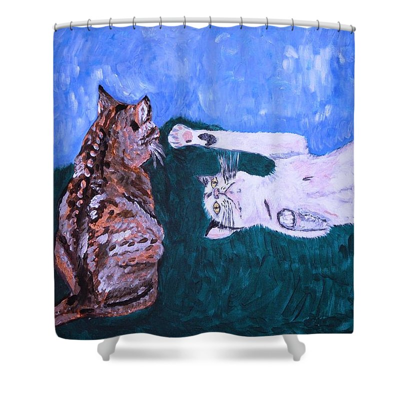 Cat Shower Curtain featuring the painting Want To Play by Valerie Ornstein