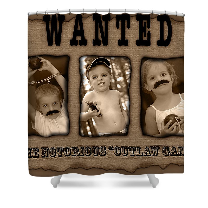 Wanted Shower Curtain featuring the photograph Wanted The Outlaw Gang by Jill Reger