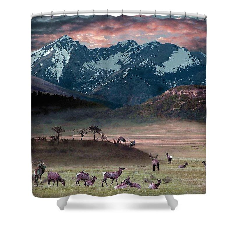 Wildlife Shower Curtain featuring the digital art Wapiti Heaven by Bill Stephens
