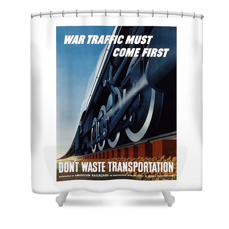 Trains Shower Curtain featuring the painting War Traffic Must Come First by War Is Hell Store