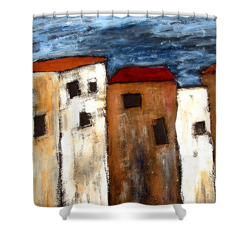 Acrylic Shower Curtain featuring the painting Warehouse Row by Wayne Potrafka