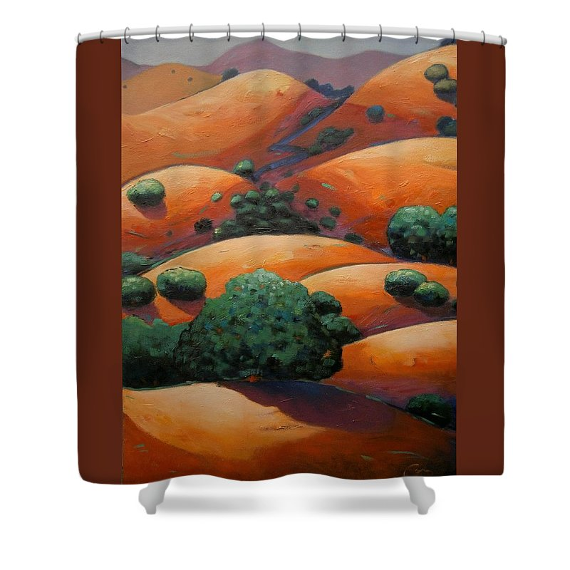 California Landscape Shower Curtain featuring the painting Warm Afternoon Light On Ca Hillside by Gary Coleman