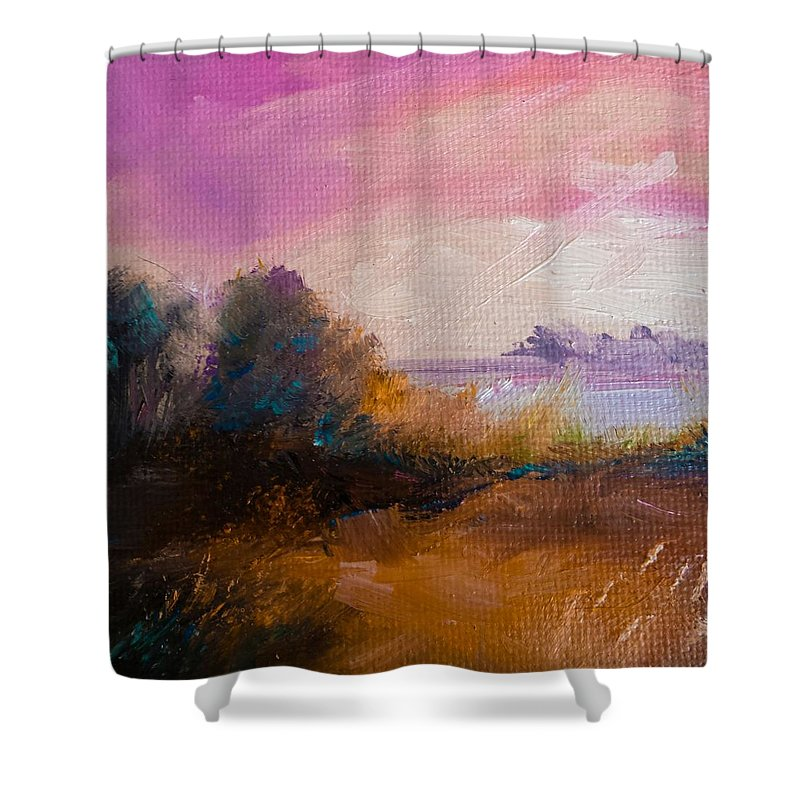 Landscape Shower Curtain featuring the painting Warm Colorful Landscape by Michele Carter