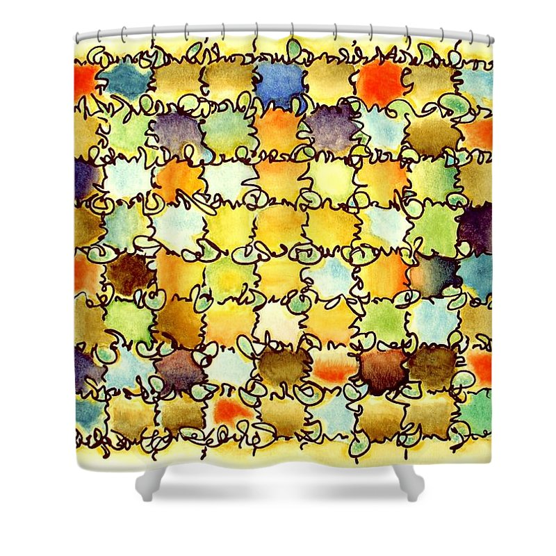 Abstract Shower Curtain featuring the painting Warm Light by Dave Martsolf