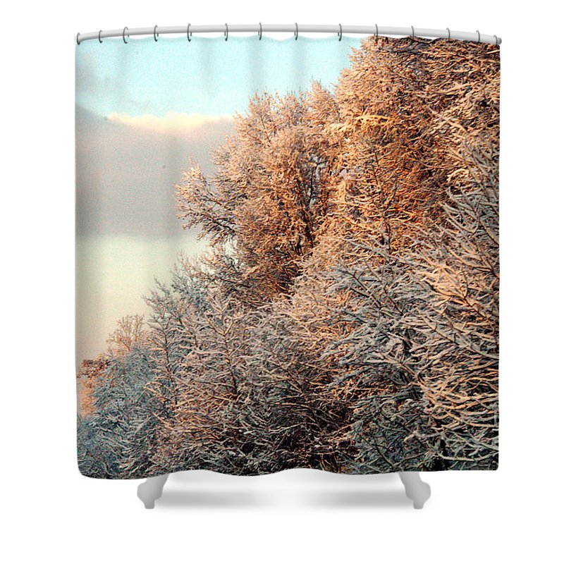Clay Shower Curtain featuring the photograph Warm Light Snow by Clayton Bruster