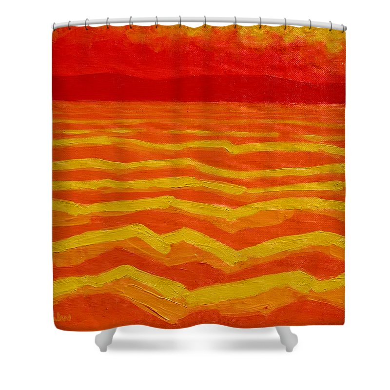 Seascape Shower Curtain featuring the painting Warm Seascape by John Nolan