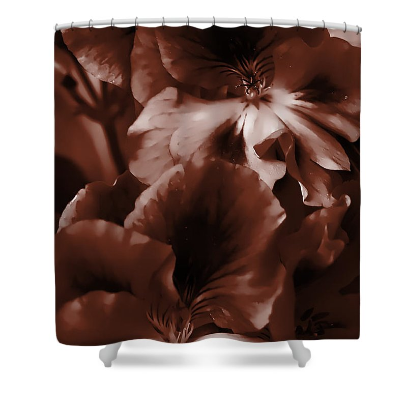 Clay Shower Curtain featuring the photograph Warm Tone Monochrome Floral Art by Clayton Bruster