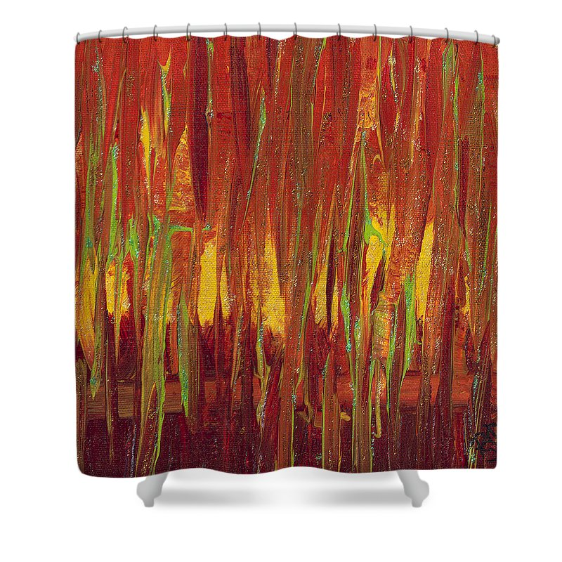 Red Shower Curtain featuring the painting Warm Tones by Patty Vicknair