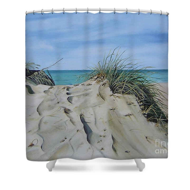 Lake Shower Curtain featuring the painting Warren Dunes by Mary Rogers