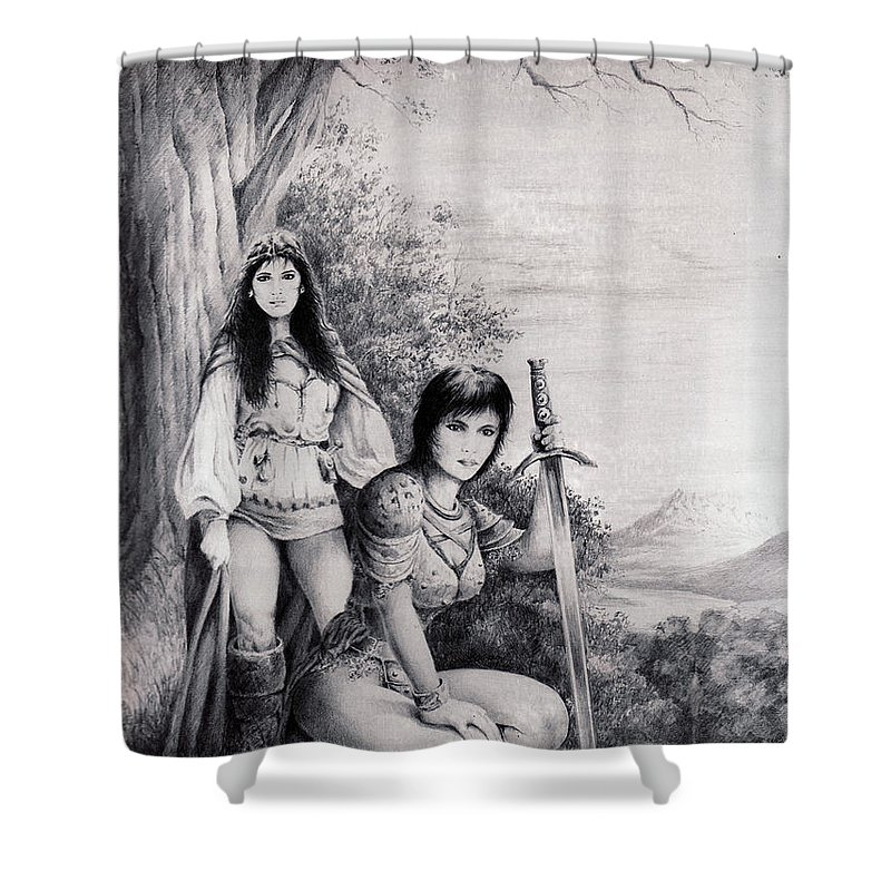Floral Shower Curtain featuring the drawing Warriors by Rachel Christine Nowicki