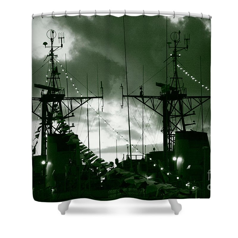 Antenna Shower Curtain featuring the photograph Warships At Twilight by Gaspar Avila