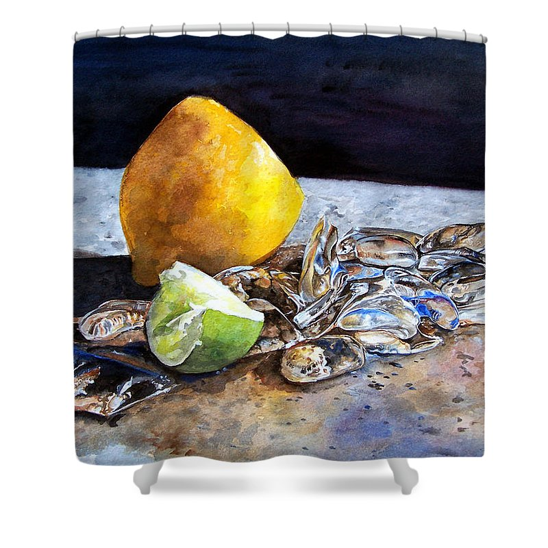 Lemon Shower Curtain featuring the painting Was... by Leyla Munteanu