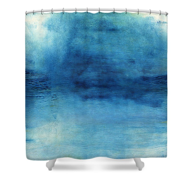 Blue Shower Curtain featuring the painting Wash Away- Abstract Art by Linda Woods by Linda Woods