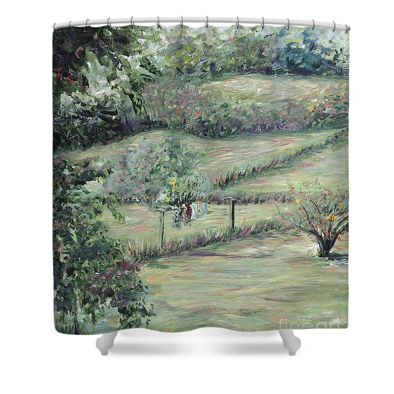 Landscape Shower Curtain featuring the painting Washday in Provence by Nadine Rippelmeyer